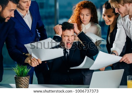 stressed and overworked business owner. Businessman in modern office scream. Unhappy worcaholic job problems concept.