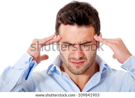 Stressed business man with a headache �¢?? isolated over white