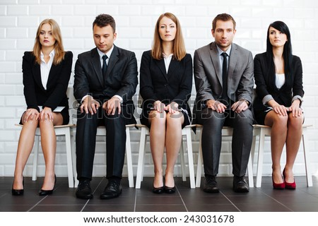 Stressed business people wiating for job interview Zdjęcia stock ©