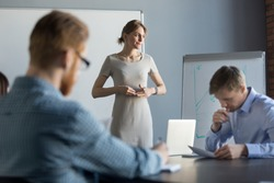 Stressed business woman leader executive in tension feels worried thinking of problem challenge at meeting, female speaker nervous about result waiting for clients decision after sales presentation