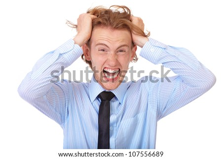 Stressed businessman tear his hair out, crazy face expression, isolated on white