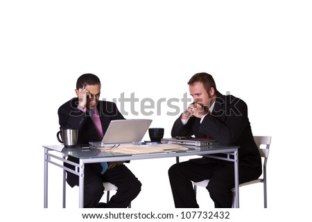 Stressed Businessmen in an Office Working Together - Isolated Background