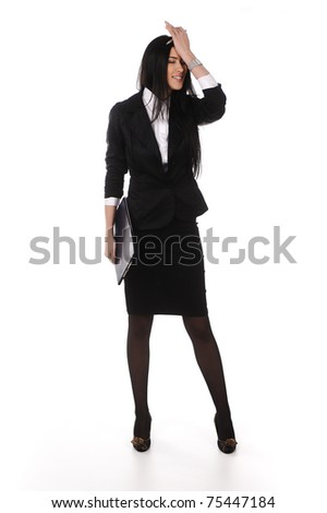 Stressed businesswoman standing, isolated, full length