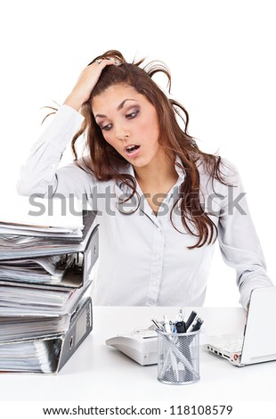 Stressed businesswoman working isolated on white