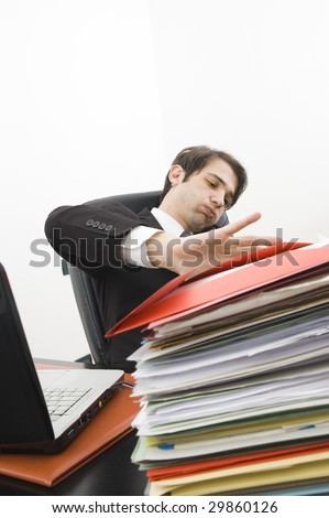 stressed clerk in office