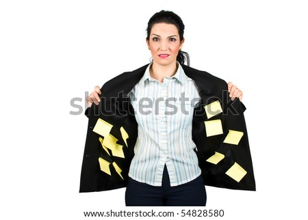 Stressed ,confused or busy business woman with many  post it on her interior jacket  isolated on white background