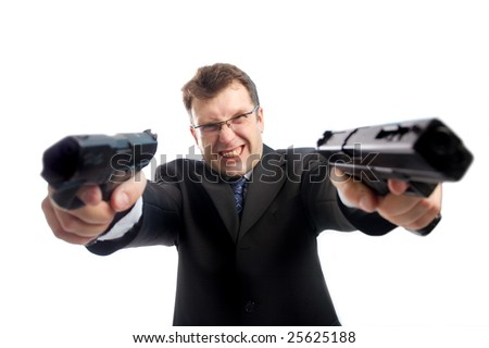 Stressed criminal businessman with two aimed guns standing over white background
