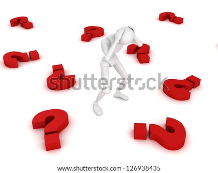 Stressed 3d man amongst red question marks on white background