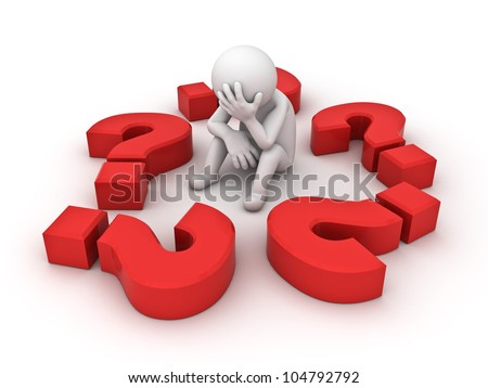 Stressed 3d man sitting amongst red question marks on white background