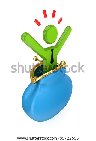 Stressed 3d small person in a green purse.3d rendered.Isolated on white background.