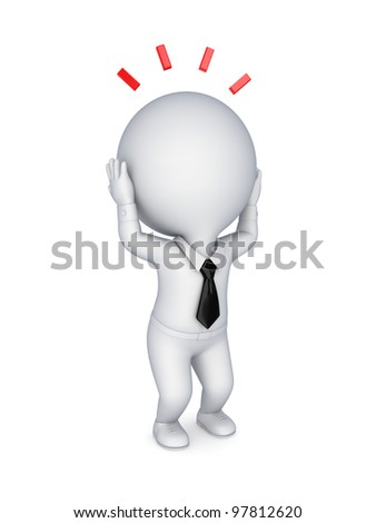 Stressed 3d small person.Isolated on white background.3d rendered.