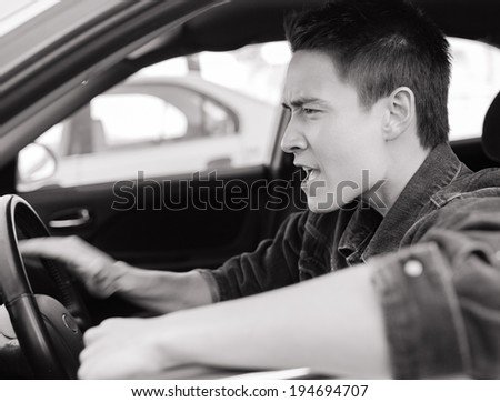 Stressed male driver.