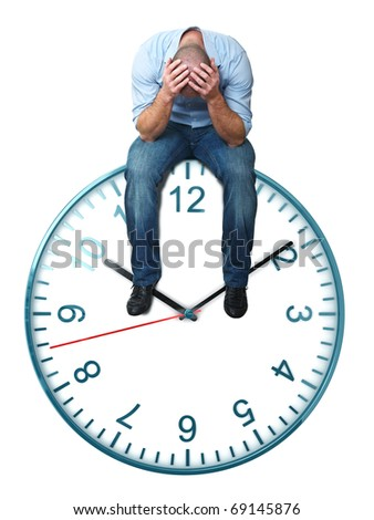 stressed man and classic watch isolated on white background - stock photo