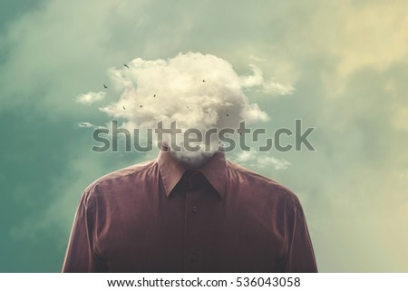 Shutterstock stressed man head in the cloud