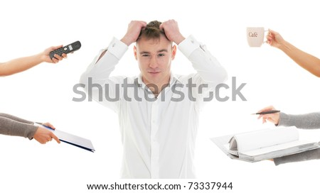 Stressed man tired of busy work