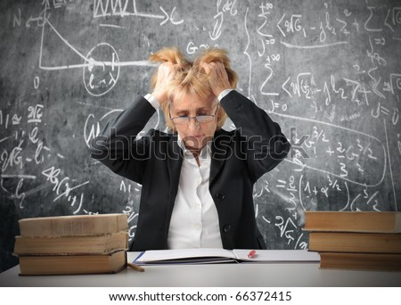 Stressed teacher in a classroom