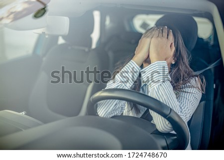 Stressed woman drive car feeling sad and angry. Girl tired, fatigue mental on car. Sleepy and drunk female hangover. Illegal law driver license. Driving when tired and do not drive drowsy concept