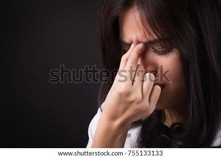 stressed woman with headache, dizzy woman, sick and depressed woman, ill stressful girl, stressed girl suffering from vertigo, dizziness, migraine symptoms, dizzy girl hangover, asian woman depression