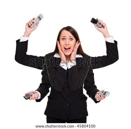 stressed woman with telephones in her hands. isolated on white
