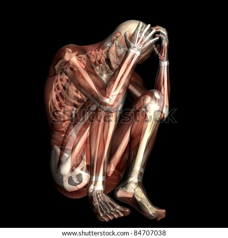 Stressed.  X-Ray of a male skeleton with muscles showing. Isolated on a black background