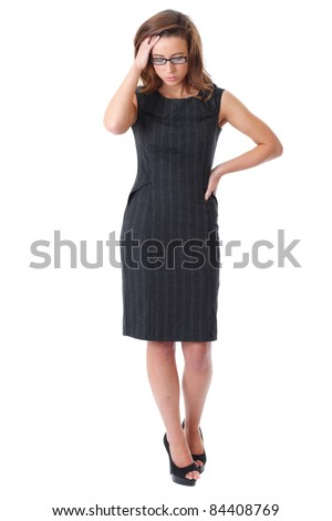Stressed young attractive businesswoman isolated on white