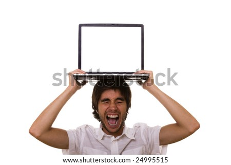 stressed young man with a laptop on his head