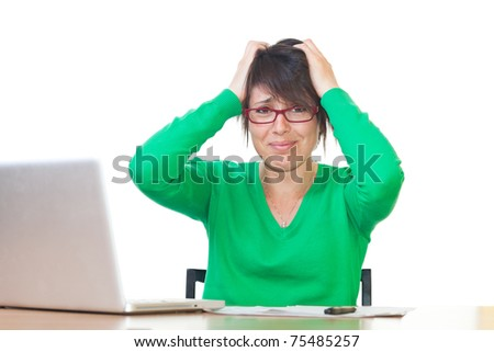 Stressed Young Woman at Work