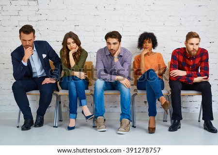 Stressful students waiting for exam, test. Education concept