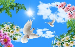 stretch ceiling model blue sky flowers and doves