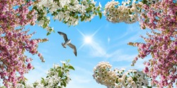 stretch ceiling model, blue sunny sky, white pink flowers and flying bird gull