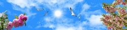 stretch ceiling models beautiful blue sky birds and white seagull pink flowers cherry blossom, green leaves