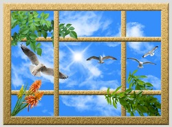 stretch ceiling pattern gold glitter frame sunny sky green leaves and flying birds seagull