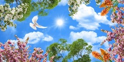 stretch ceiling picture. fluffy cloudy and sunny blue sky. Dove flying among green tree branches. pink and white cherry blossoms,orange tropical flower