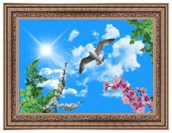 stretch ceiling sunny beautiful sky picture flying bird seagull and decorative copper frame ornament