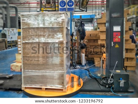 Stretch wrapping for pallet protection during transport isolated.