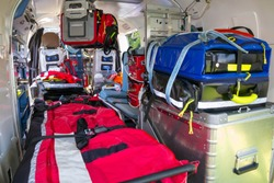 Stretcher and medical equipment in a Emergency medical services helicopter.