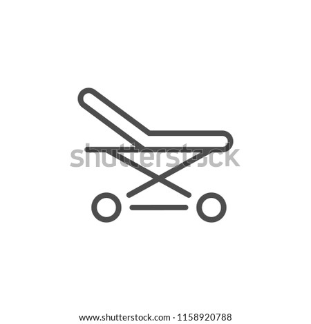 Stretchers line icon isolated on white