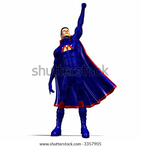 Stretches the fist he/it blue Superheld with boots and Cape into the height and signals the victory with it