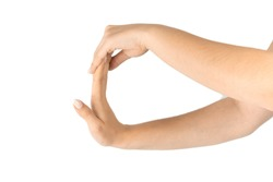 Stretching arms. Healthy workout exercise. Woman hand massage for carpal tunnel syndrome protection. Female finger exercise, stretch therapy for pain wrist protective isolated on white background.