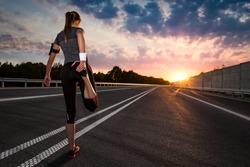 stretching run runner road jogging clothes flare sunset street fitness cross sunbeam success running sportswear