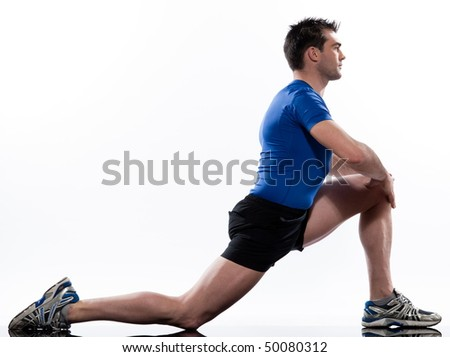 stretching workout posture by a man on studio white background