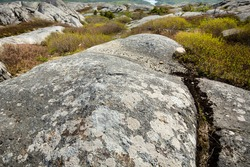Striations and a large glacial groove in the exposed granite bedrock near the summit of Mt. Monadnock in Jaffrey, New Hampshire.