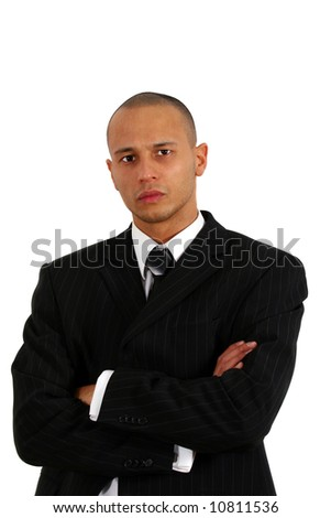 Strict Businessman Young man in stylish business fashion - over white background.