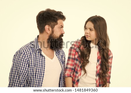 Strict father concept. Man brutal bearded dad talking to little daughter. Something forbidden. Parenthood and upbringing. Strict rules of family. Strict upbringing. Seriously unhappy about misconduct. #1481849360
