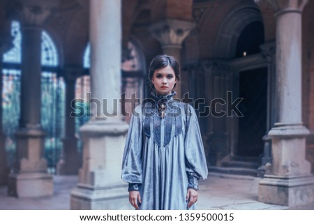 Strict teacher in a gray velvet vintage dress looking into the camera. Overseer psychological wedge strictly mode. Art photography, depressed mood. Background gothic architecture with columns #1359500015