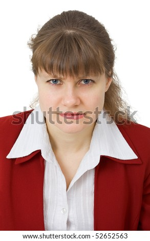 Strict woman looks at us, isolated on a white background