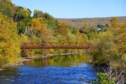 Striking colors of fall foliage near Lehigh River, Jim Thorpe, Pennsylvania, U.S
