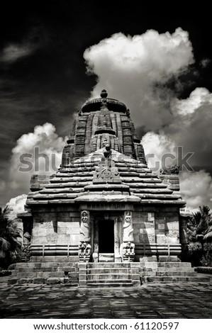 Striking image of beautiful Rajarani temple of love goddess built in 11th century in orissa, India