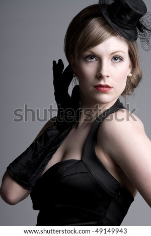 ... Shot of a Beautiful Girl in Vintage Style Clothing - stock photo