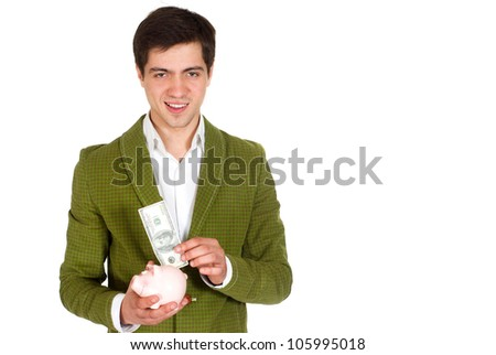 Striking young man shines in front of camera